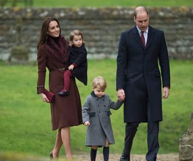 Prince William and Duchess Catherine take the children to church