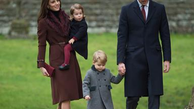 Prince William and Duchess Catherine take the children to church
