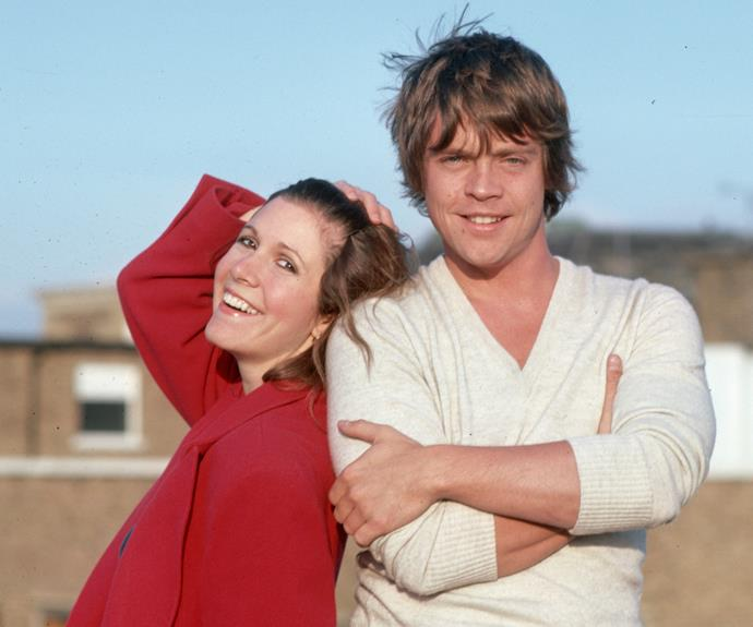 *Star Wars* trilogy costars Mark Hamill (R) and Carrie Fisher (L).