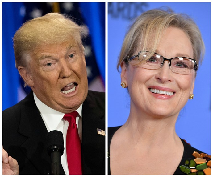 """[Meryl Streep's speech at the 2015 Golden Globes](http://www.nowtolove.co.nz/celebrity/celeb-news/donald-trump-reacts-to-meryl-streeps-speech-22835 target=""""_blank"""") critiqued the then-Presendential candidate Donald Trump without ever using his name. It was in 2011, however that she won a Golden Globe for her performance as Margaret Thatcher in *The Iron Lady* then went on to win an Oscar for the same role."""