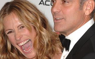 Julia Roberts sporting her signature, ear-to-ear smile.