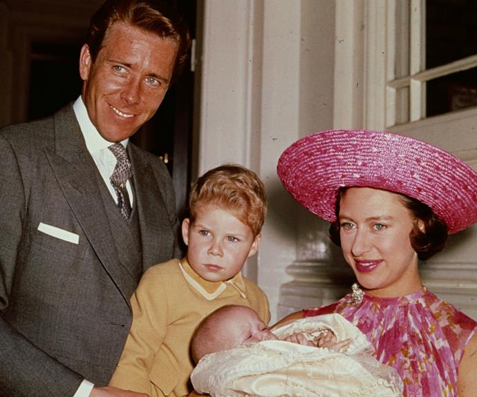 Lord Snowdon and Princess Margaret with their son, Linley, shortly after the birth of daughter, Sarah.