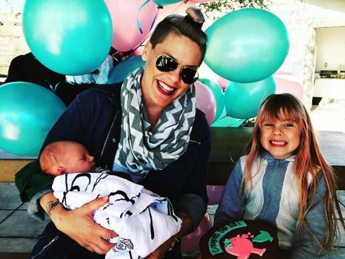 """Pink shared an adorable snap of the """"big sister party"""" she threw for Willow, which included green and pink balloons and a decorated cake – too cute!"""