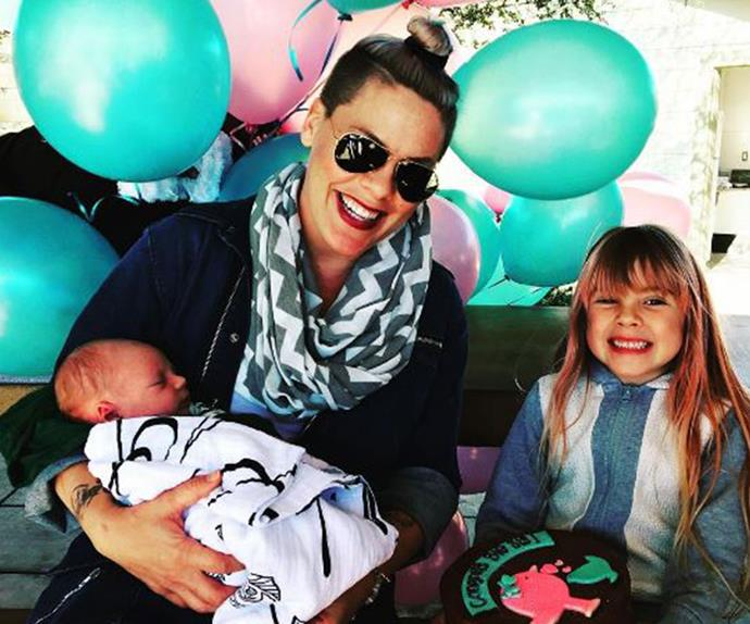 Pink, Jameson Moon and Willow at big sister party