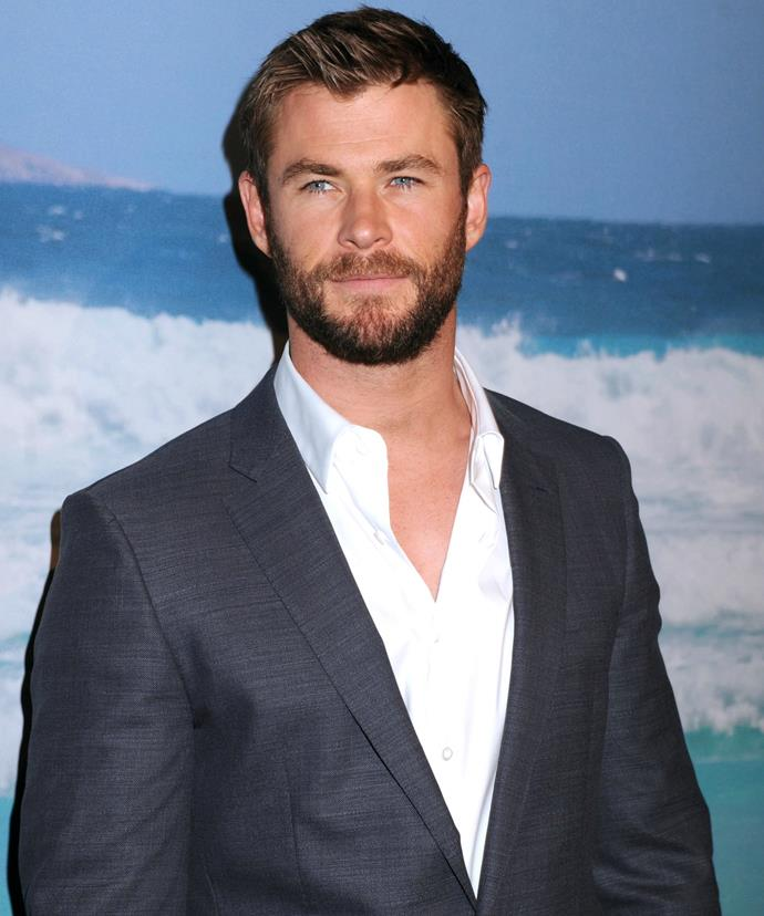 Chris Hemsworth chose to wear a sharp grey suit - *sans* tie - for the occasion.