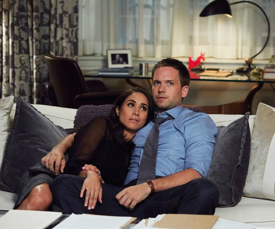 Meghan with her co-star Patrick J Adams in *Suits*. *(Image: Supplied)*