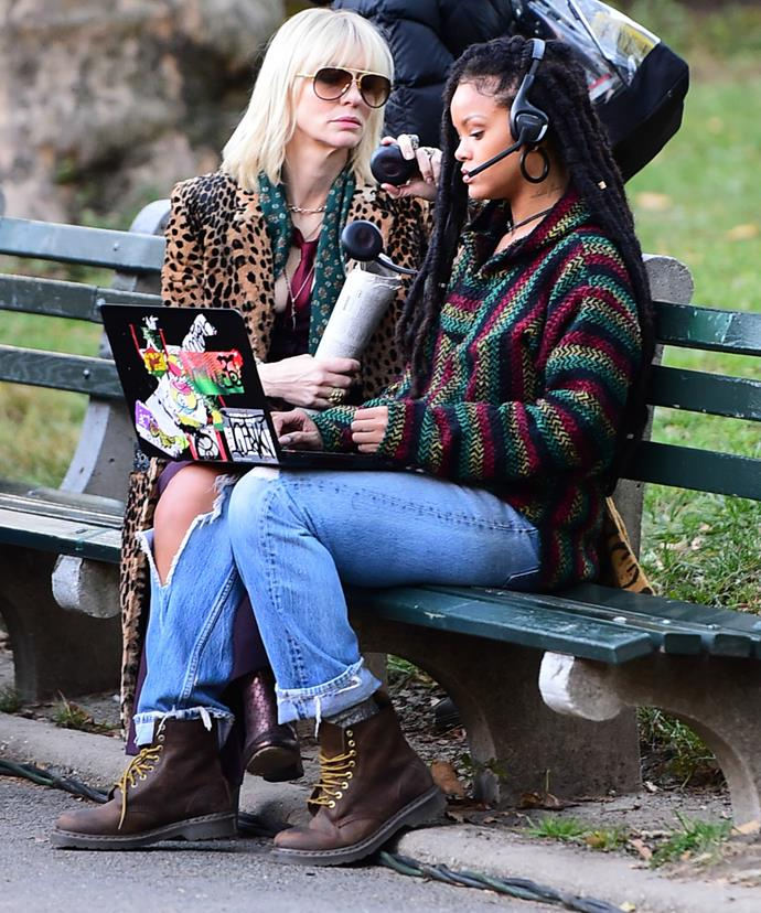 Cate and Rhianna carry out covert affairs in New York City's Central Park as they film a scene for the upcoming film.
