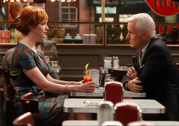 Actors Christina Hendricks and John Slattery in Mad Men, season 4.