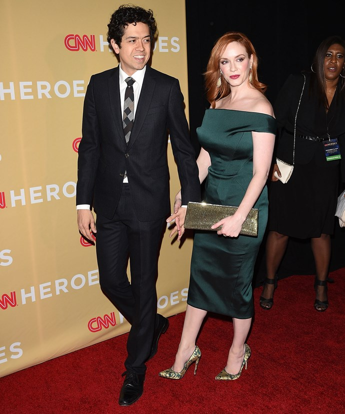 Christina Hendricks and husband Geoffrey Arend attend the 2014 CNN Heroes: An All-Star Tribute at the American Museum of Natural History in November 2014.