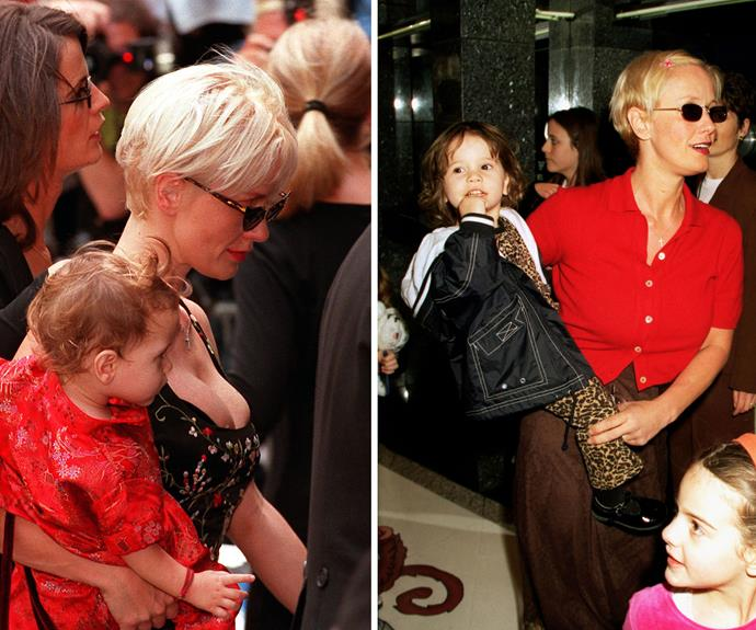 Left, Paula Yates carrying their daughter into Michael Hutchence's funeral on 27 November 1997. Right, in London in 1999. Photos: AFP/Getty Images