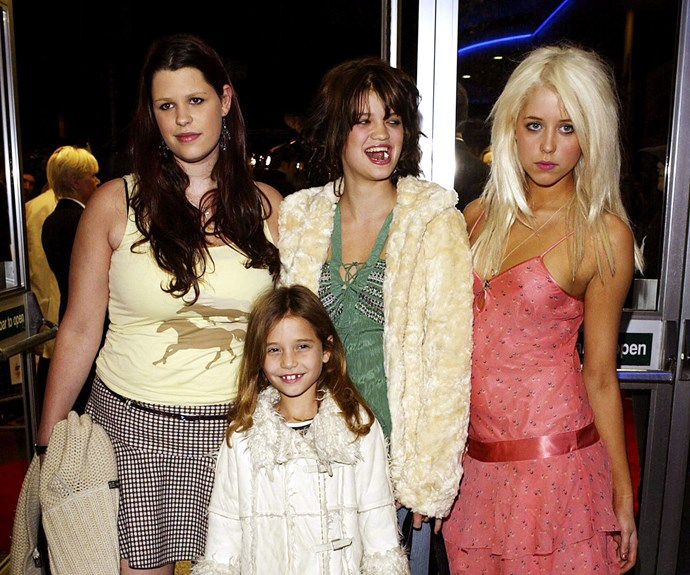 Bob Geldof's daughters Fifi Trixiebell, Pixie and Peaches with Tiger Lily in 2004. Photo: Getty Images