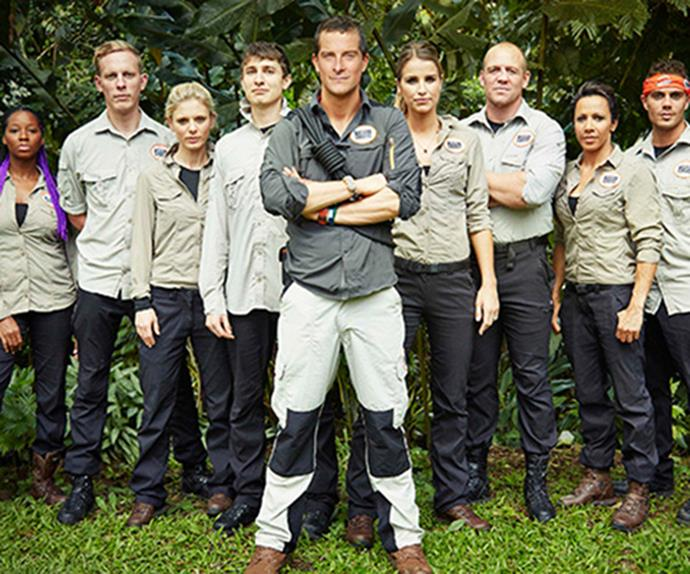 Bear Grylls and his Mission Survive cast.