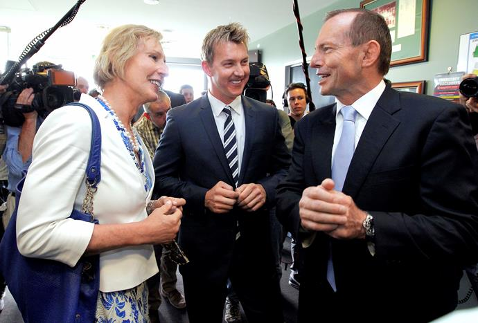 Cate McGregor with her close friend Prime Minister Tony Abbott and cricketer Brett Lee at the launch of the PM's XI, in December 2013.