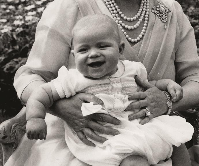 Prince Andrew of York is Queen Elizabeth's second son, and is currently fifth in line for the Throne. He is pictured here on the lap of the late Queen Mother.