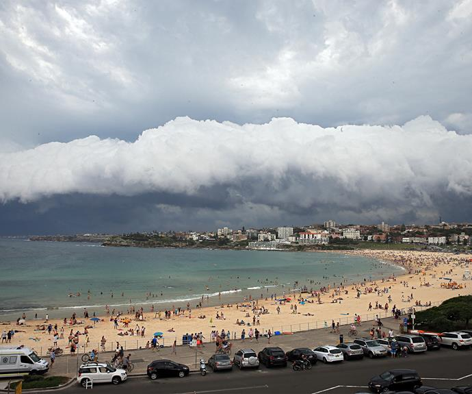A storm rolls into Bondi Beach, NSW.