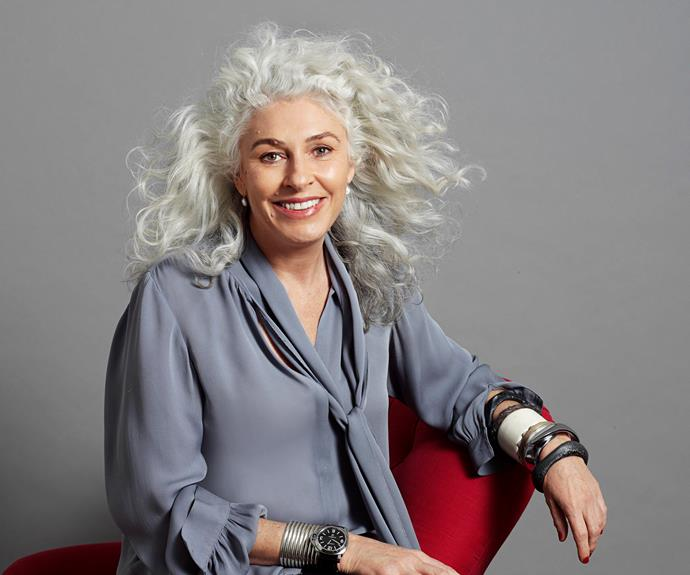 "Briony Fitzgerald, 53. ""I started going grey when I was about 35 and to start with I would have blonde streaks put in,"" she says. I haven't had it touched since I was 40."""