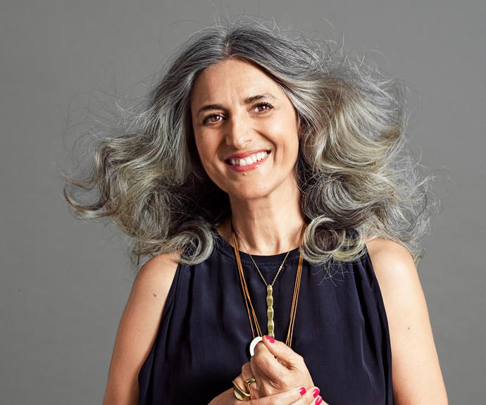 "Millie Katter, 55. ""I started having grey hairs when I was 28, but only a few and I didn't colour my hair until I was about 35. I am a real health freak and I didn't want to put chemicals in my hair any more."""