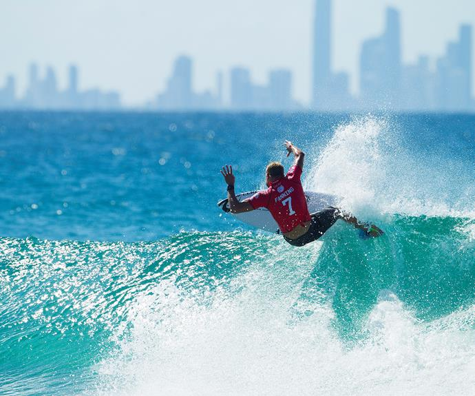 Mick Fanning surfing at Kirra Beach on the Gold Coast, Queensland.