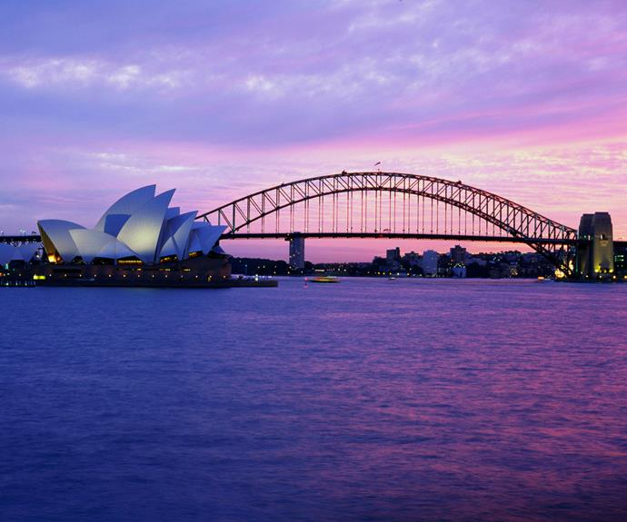 Sydney Harbour at dusk.