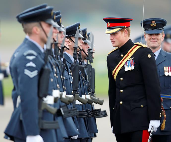 Prince Harry looking dashing in his military uniform.