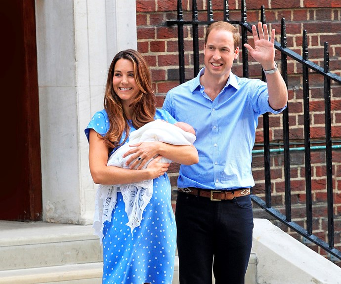 The Duke and Duchess with newborn Prince George