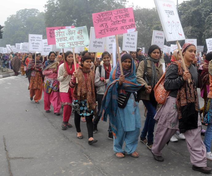 Indian women protesting after Jyoti was murdered.