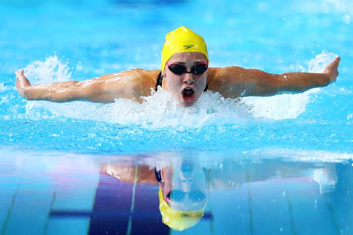 Maddie Groves swimming in the Women's 200m Butterfly final at the Glasgow Commonwealth Games.
