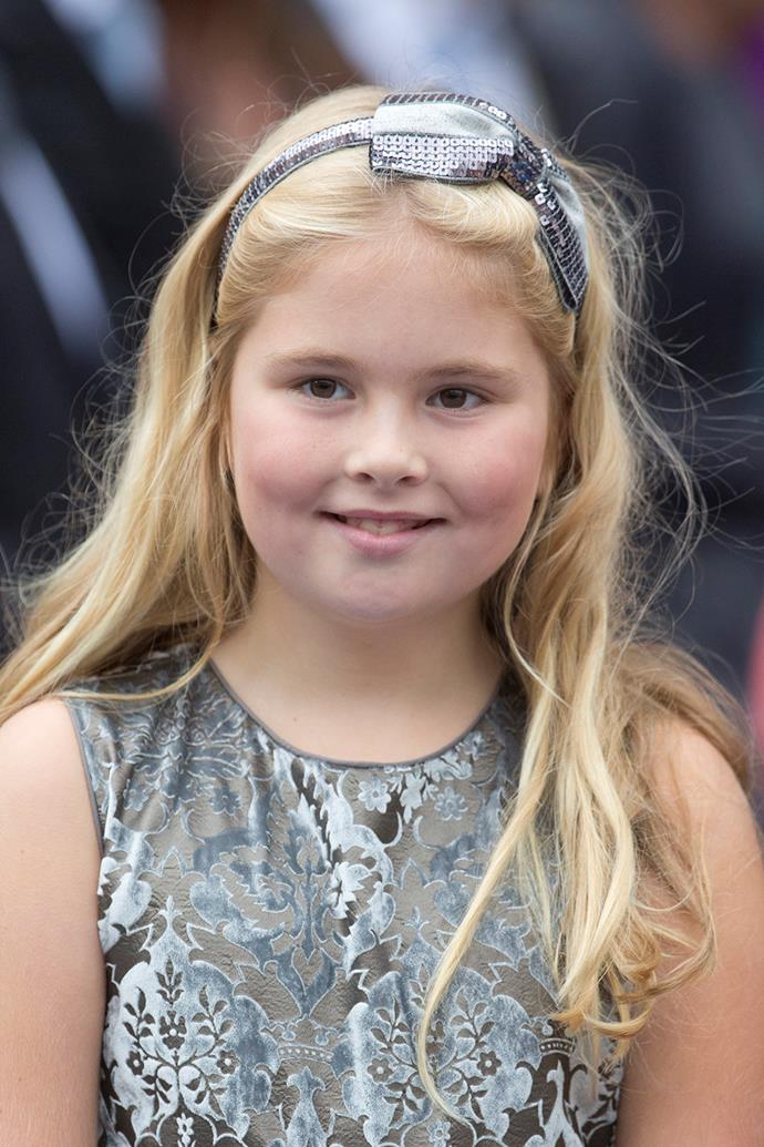 **Netherlands:** 11 year old Catharina-Amalia, the 'Princess of Orange', is only the second girl to become second-in-line for the Throne of the Netherlands. Her father, King Willem-Alexander, became King when his mother, Queen Beatrix, abdicated in 2013.   Catharina-Amalia is fluent in Dutch, English, and Spanish, and will be given a seat on the Council of State of the Netherlands when she turns 18.