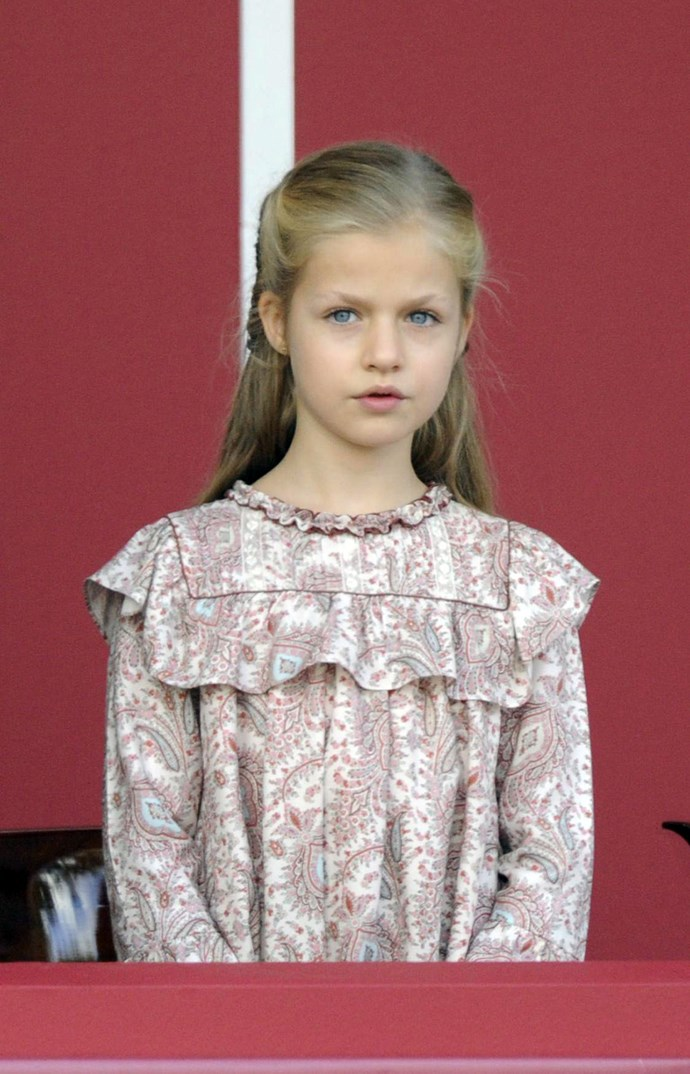 **Spain:** Princess Leonor is first in line to succeed her father, King Felip VI, on the Throne of Spain. She became heir apparent, or the 'Princess of Asturias', when her father ascended the throne in 2014. She is 9.