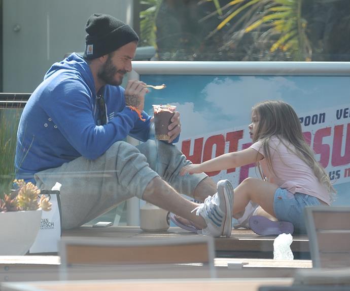 David Beckham treats daughter Harper to an ice cream date in LA.