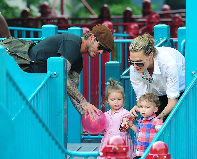 David accompanies Harper to a play date with actress Molly Sims and son Brooks.