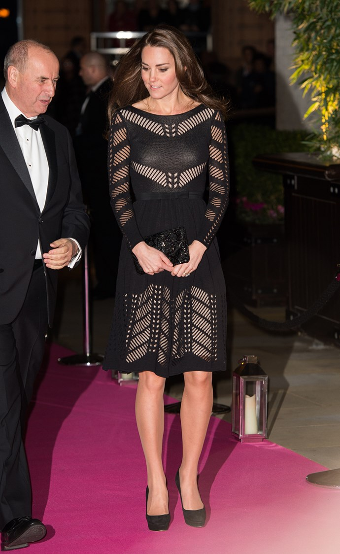 Attending a gala two days later, Kate chose this modern dress by English favourite Temperley London. It's not the first time the Duchess has stepped out in Temperley, she is a long-time fan of the brand.