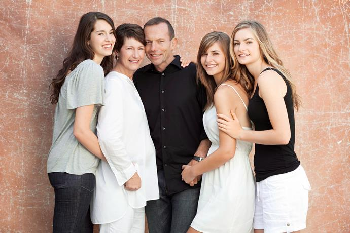 Liberal Leader Tony Abbott with his family for our 'Abbott's Women' feature in 2013.