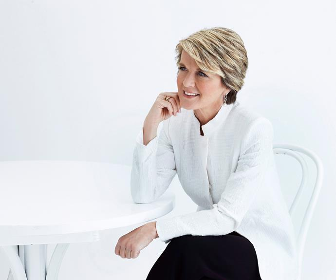 Julie Bishop, Deputy leader of the Federal Opposition, posed in all white for the Weekly Febuary 2013 edition.