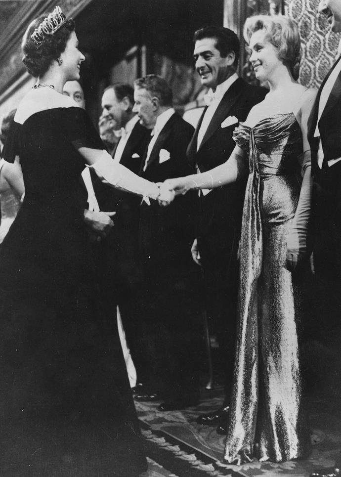 Queen Elizabeth meeting Marilyn Monroe.