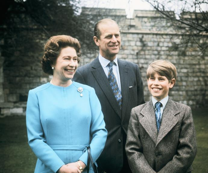 Queen Elizabeth, Prince Philip and Prince Edward in 1971.