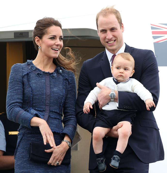 The couple landed in Australia for The Royal Tour, baby George in hand. It was Prince George's first international trip.