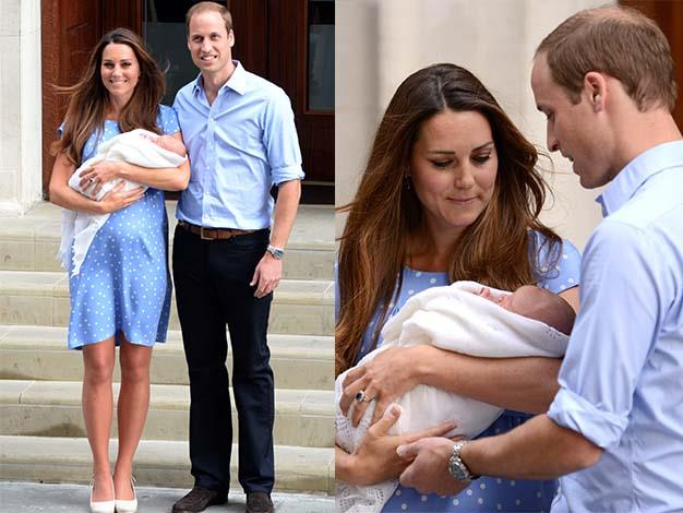 The Duchess of Cambridge and Prince William proudly presented their first child to hundreds of well wishers and media waiting to greet the baby.