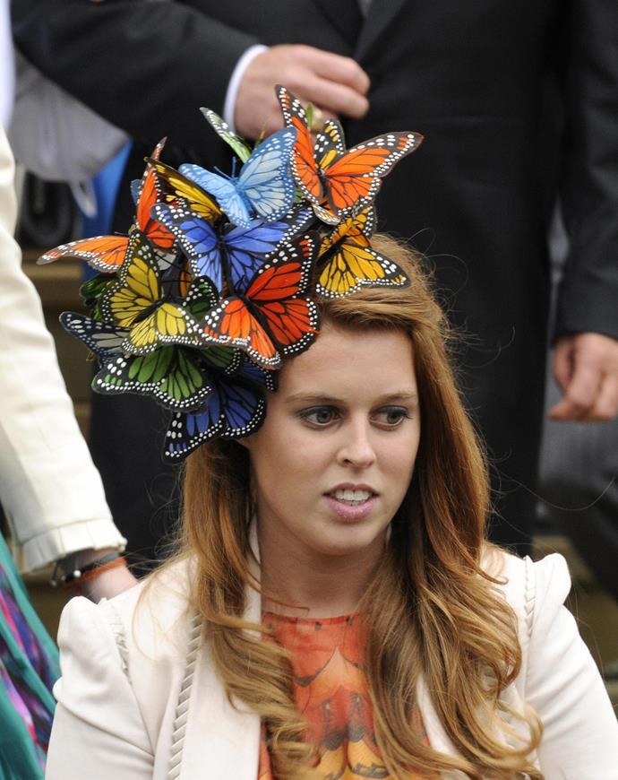 **Princess Beatrice of York** never takes the normal hat route. This Alexander McQueen piece was a good look.