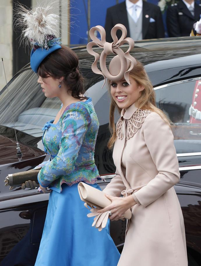 Sisters, **Princess Beatrice** and **Princess Eugenie** were compared (not unfairly...) to the evil stepsisters in Cinderella for these Royal Wedding get ups.