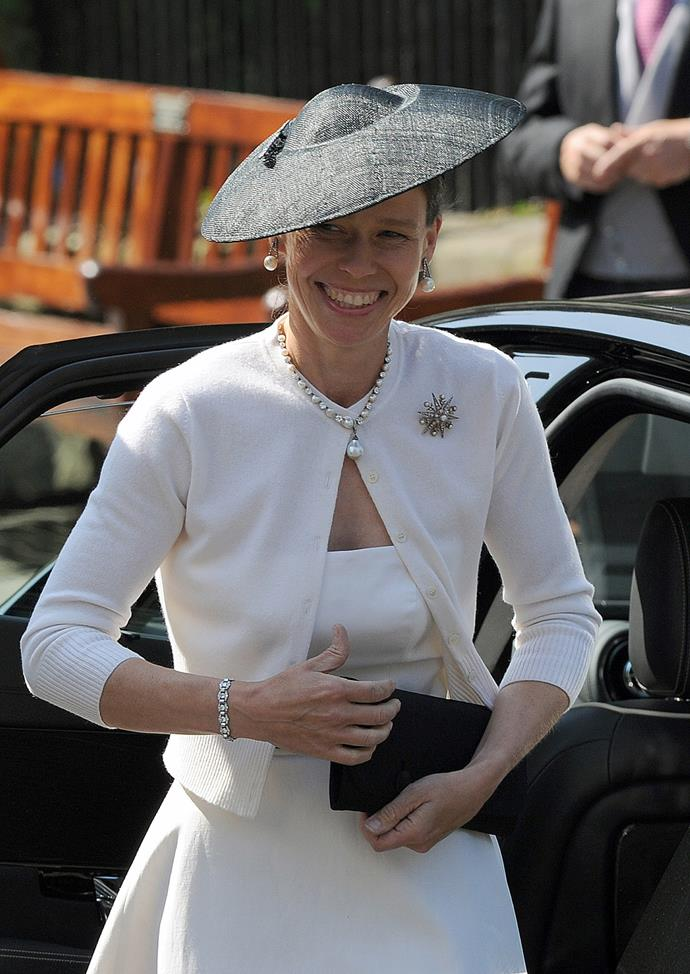 Nothing like a tiny UFO saucer for a royal wedding, eh, **Lady Sarah Chatto**?
