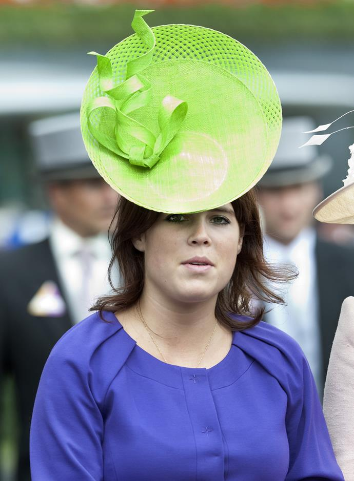 **Princess Eugenie's** neon green circle hat was an interesting choice.