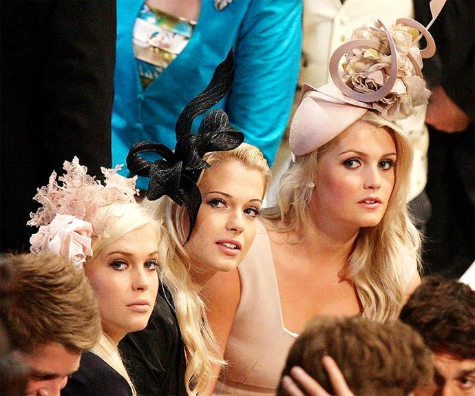 Prince William's cousins, **Ladies Kitty, Eliza and Amelia Spencer** went a similar flouncy fascinator route for their royal appearances.