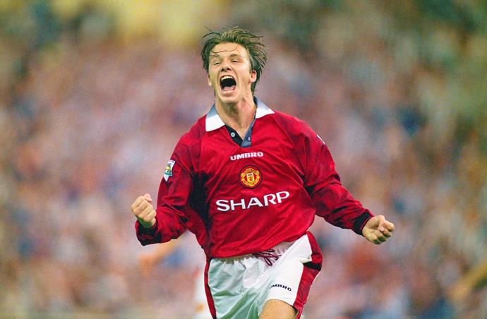 LONDON, UNITED KINGDOM - AUGUST 11: David Beckham of Manchester United celebrates after scoring the third goal in the 1996 FA Charity Shield between Manchester United and Newcastle United at Wembley Stadium on August 11, 1996 in London, England. (Photo by Shaun Botterill/Allsport/Getty Images)
