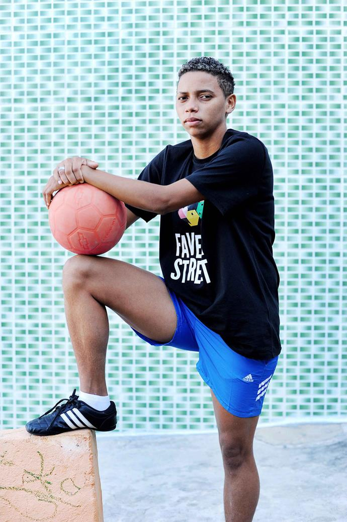 Jéssica Medeiros, 23, is another member of the Favela Street program. Her mother has eventually come to accept her as a female football player, but her grandmother largely disapproves. When she tries to play football with the kids in her neighborhood some boys will allow it but others yell at her that football is for men and that women are supposed to wash clothes and take care of the house. **Picture by Isabella Melody Moore via [itswhatartis](http://itswhatartis.com/)**