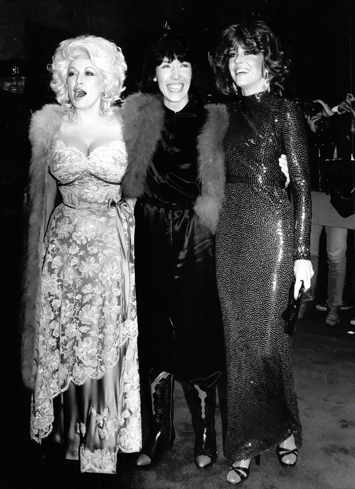 Jane, Lily and co-star, Dolly Parton, in their 80s hit, *'9 to 5'*.