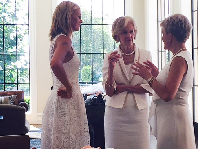 Dame Quentin, Sarah Murdoch and Professor Kathryn North chat together behind the scenes.