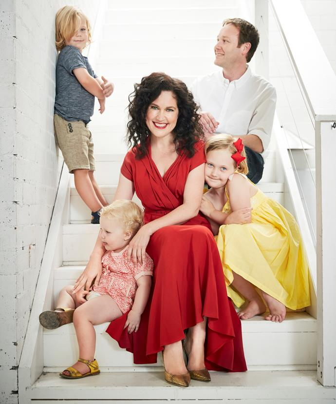 Annabel Crabb with her family.