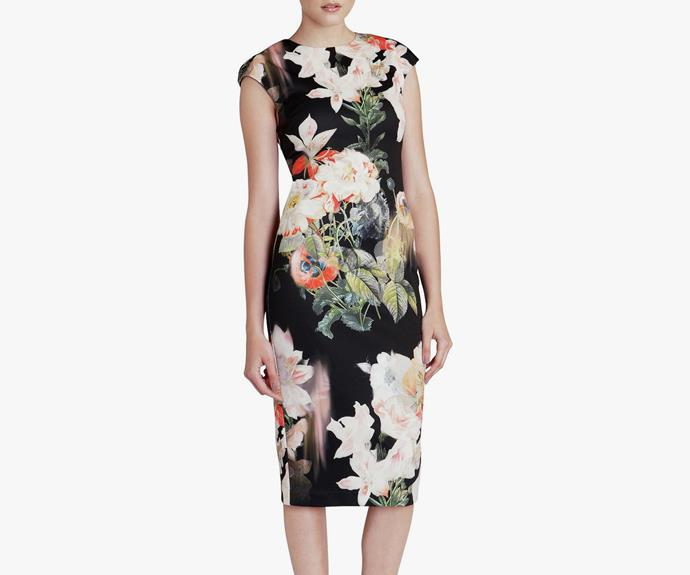 This [Candiss Opulent Bloom Fitted Dress Ted Baker dress, $399](http://shop.davidjones.com.au/djs/ProductDisplay?urlRequestType=Base&catalogId=10051&categoryId=27051&productId=6009509&errorViewName=ProductDisplayErrorView&urlLangId=-1&langId=-1&top_category=26551&parent_category_rn=&storeId=10051) is the perfect moody print.