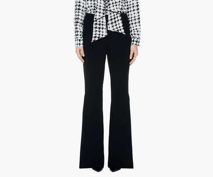 Add the classic wide leg, with a modern flared twist to your wardrobe. Pair with a bold print blouse or a clean button up.